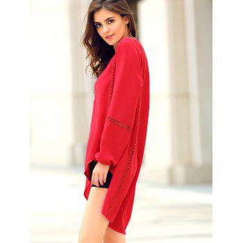 Trendy Long Sleeve Red Asymmetrical Blouse For Women - RED S