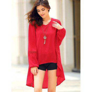 Trendy Long Sleeve Red Asymmetrical Blouse For Women - RED RED
