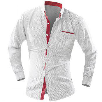 Long Sleeve Turn-Down Collar Color Block Spliced Polka Dot Men's Shirt