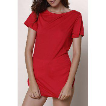 Casual Women's Jewel Neck Short Sleeve Solid Color Slit Dress - RED L