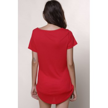 Casual Women's Jewel Neck Short Sleeve Solid Color Slit Dress - 2XL 2XL