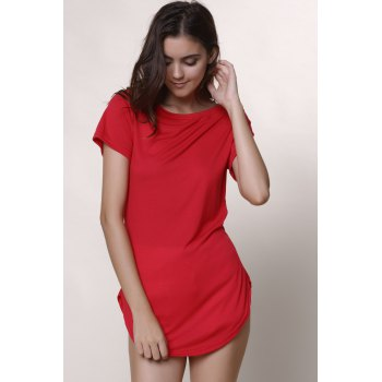 Casual Women's Jewel Neck Short Sleeve Solid Color Slit Dress - 3XL 3XL
