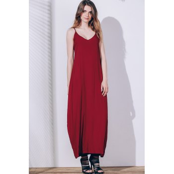 Casual Spaghetti Strap Sleeveless Solid Color Loose-Fitting Women's Sun Dress