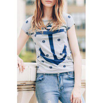 Trendy Short Sleeve Scoop Neck Anchor Print Women's T-Shirt