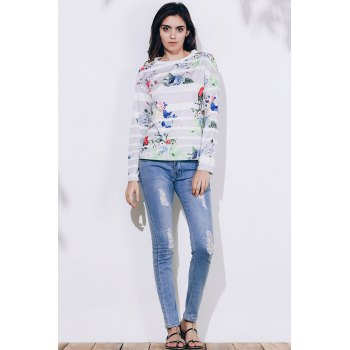 Attractive Striped Colorful Printed Long Sleeve T-Shirt For Women - GRAY GRAY