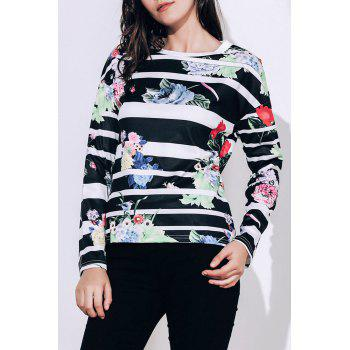Attractive Striped Colorful Printed Long Sleeve T-Shirt For Women - BLACK XL