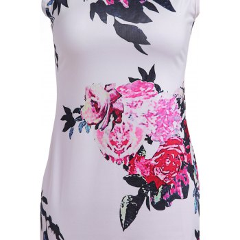 Vintage Round Collar Sleeveless Zippered Floral Print Women's Dress - XL XL