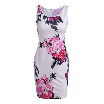 Vintage Round Collar Sleeveless Zippered Floral Print Women's Dress - COLORMIX XL