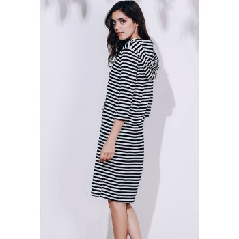 Attractive Striped Hooded 3/4 Sleeve Bodycon Hoodie Dress For Women - BLACK M