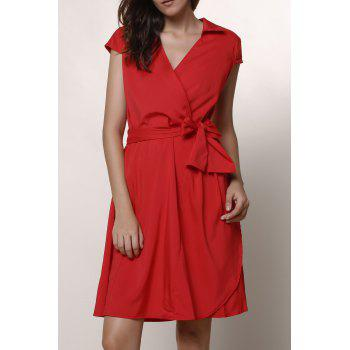 Graceful Turn-Down Collar Pure Color Lace-Up Short Sleeve Dress For Women - RED XS