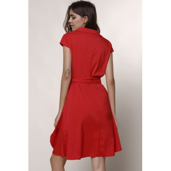 Graceful Turn-Down Collar Pure Color Lace-Up Short Sleeve Dress For Women - XL XL