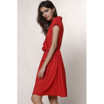 Graceful Turn-Down Collar Pure Color Lace-Up Short Sleeve Dress For Women - RED RED