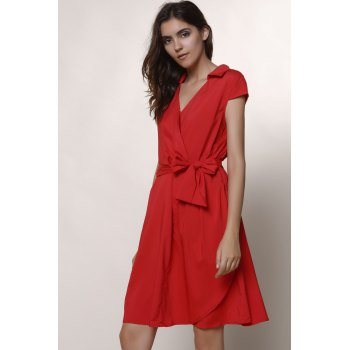 Graceful Turn-Down Collar Pure Color Lace-Up Short Sleeve Dress For Women - RED 2XL