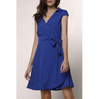 Graceful Turn-Down Collar Pure Color Lace-Up Short Sleeve Dress For Women - BLUE L