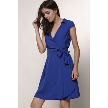 Graceful Turn-Down Collar Pure Color Lace-Up Short Sleeve Dress For Women - L L