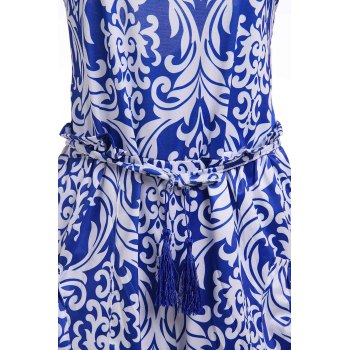 Stylish Spaghetti Strap Vintage Print Women's Playsuit - S S