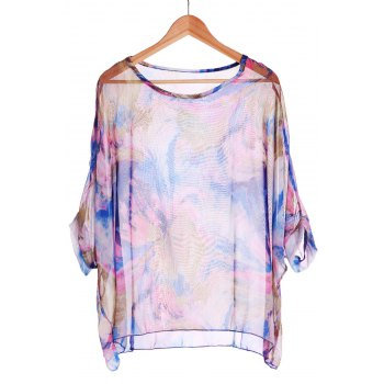 Stylish Scoop Neck 3/4 Sleeve Plus Size Printed Women's T-Shirt