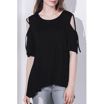 Casual Shoulder Cut Out Tied Solid Color Pullover T-Shirt For Women