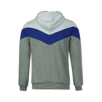 Slimming Trendy Hooded Personality Color Splicing Long Sleeves Men's Thicken Hoodies - LIGHT GRAY M