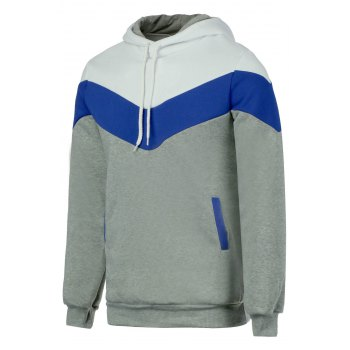 Buy Slimming Trendy Hooded Personality Color Splicing Long Sleeves Men's Thicken Hoodies LIGHT GRAY