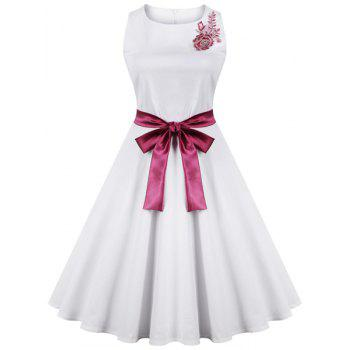Elegant Sleeveless Round Neck Embroidered Bowknot Women's Dress