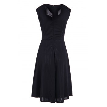 Vintage Pure Color Sweetheart Neck Sleeveless Dress For Women - S S
