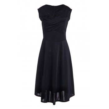 Vintage Pure Color Sweetheart Neck Sleeveless Dress For Women - BLACK S
