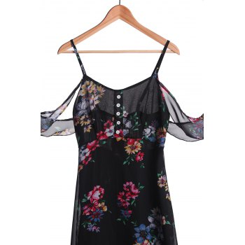 Stylish Spaghetti Strap Floral Off The Shoulder Women's Maxi Dress - BLACK S