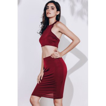 Alluring Sleeveless Round Neck Solid Color Crop Top + High-Waisted Skirt Women's Twinset - WINE RED WINE RED
