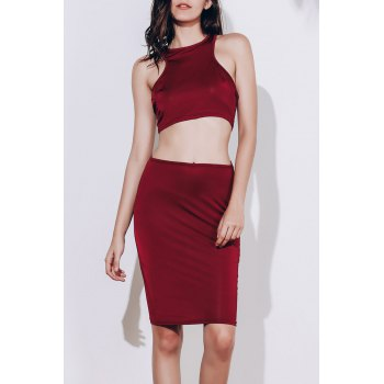 Alluring Sleeveless Round Neck Solid Color Crop Top + High-Waisted Skirt Women's Twinset