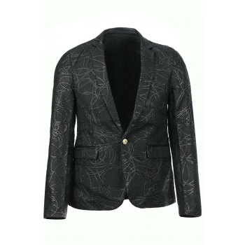 Stylish Slimming Turn-down Collar Leather and Personality Rope Applique Embellished Long Sleeves Men's Blazer
