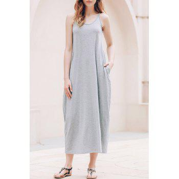 Stylish Spaghetti Strap Solid Color Pocket Design Women's Dress