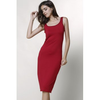 Sexy Scoop Collar Sleeveless Bodycon Solid Color Women's Dress - L L