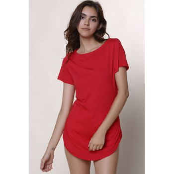Casual Mini Shift Dress - RED S