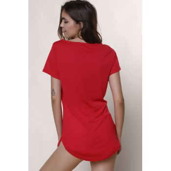 Casual Mini Shift Dress - RED RED