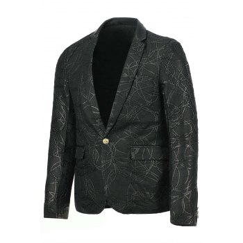 Stylish Slimming Turn-down Collar Leather and Personality Rope Applique Embellished Long Sleeves Men's Blazer - BLACK BLACK