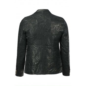 Stylish Slimming Turn-down Collar Leather and Personality Rope Applique Embellished Long Sleeves Men's Blazer - BLACK XL