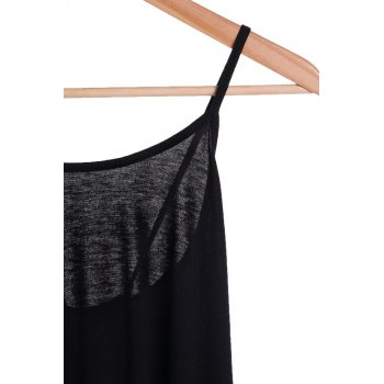 Trendy Women's Spaghetti Strap Solid Color Backless High Low Tank Top - BLACK M