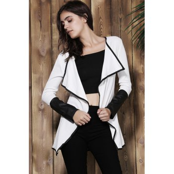 Stylish Long Sleeve Faux Leather Asymmetrical Spliced Women's Cardigan - WHITE S