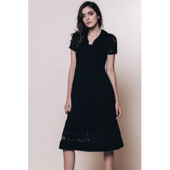 Vintage Style Short Sleeve V-Neck Lace Women's Black Dress - BLACK XL