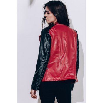 Women's Turn-Down Collar Splicing Pure Color Long Sleeve PU Jacket - WINE RED XL