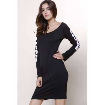 Letter Printed Back Ripped Hollow Out Bodycon Dress - BLACK L