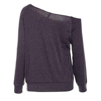 Casual Style Long Sleeve Scoop Neck Printed Women's T-Shirt - DEEP GRAY L