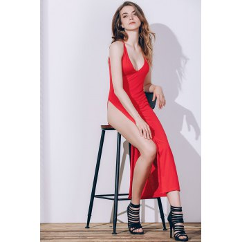 Sexy Women's Spaghetti Strap Red High Slit Robe - Rouge S