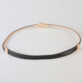 Chic Round Hasp Adjustable Women's PU Slender Belt - BLACK