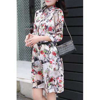 Floral Chiffon Long Cardigan - COLORMIX L