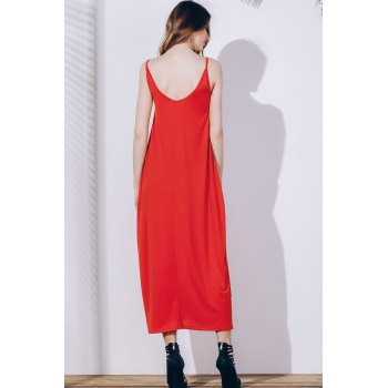 Stylish Spaghetti Strap Solid Color Pocket Design Women's Dress - ORANGE RED S