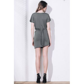 Sexy Short Sleeve Scoop Neck Asymmetrical Women's Dress - ARMY GREEN XL