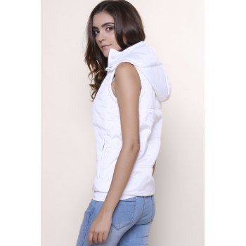 Stylish Sleeveless Hooded Zip Up Women' Padded Waistcoat - WHITE M