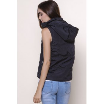 Stylish Sleeveless Hooded Zip Up Women' Padded Waistcoat - BLACK S